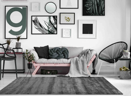 Bamboo Platinum Dark Grey Area Rug Carpet